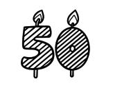Desenho de 50 anos para colorear