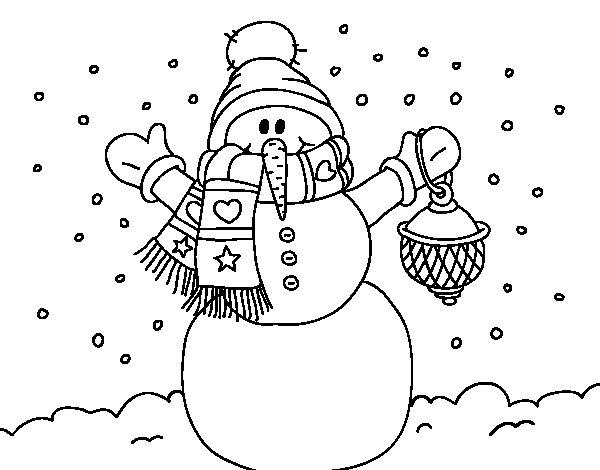Desenho de A neve do Natal do boneco de neve para Colorir