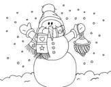 Desenho de A neve do Natal do boneco de neve para colorear