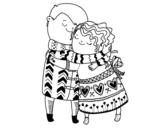Desenho de Abraço para colorear