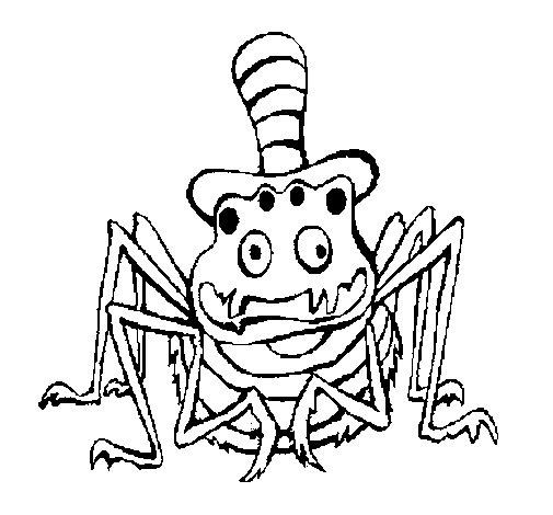Desenho de Aranha com chapéu para Colorir
