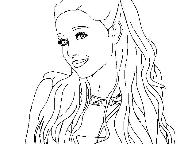 Desenho De Ariana Grande Com Coleira Para Colorir