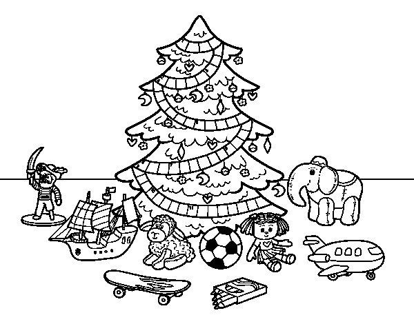 Desenho de Árvore de Natal e brinquedos para Colorir