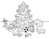 Dibujo de Árvore de Natal e brinquedos