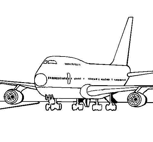 Desenho de Avião em pista para Colorir