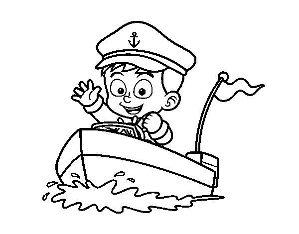 Desenho de Barco e capitão para Colorir
