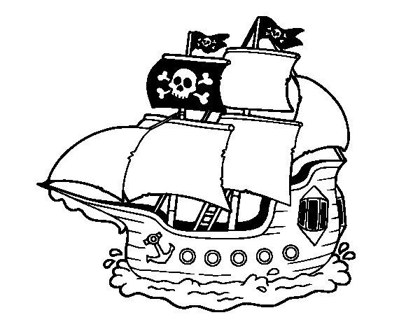 Desenho de Barco pirata para Colorir