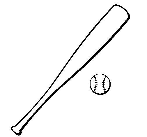 Desenho de Bastão de basebol e bola para Colorir