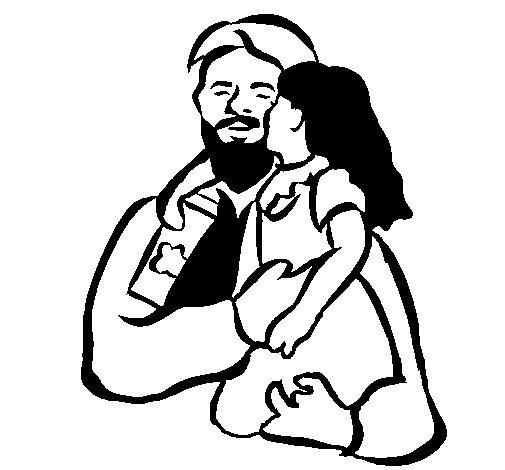Desenho de Beijo paternal para Colorir