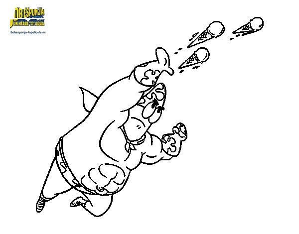 Desenho de Bob Esponja - Super Maneiríssimo atirando para Colorir