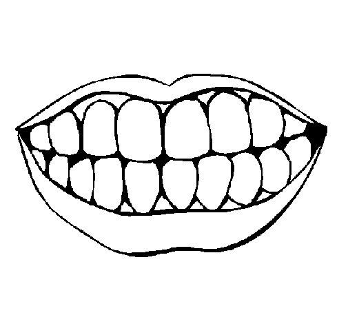 Desenho de Boca e dentes para Colorir