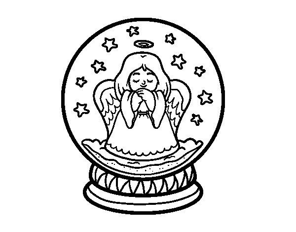 Desenho de Bola de neve com anjo para Colorir