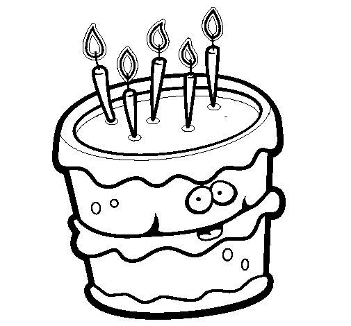 Desenho de Bolo de aniversário 2 para Colorir
