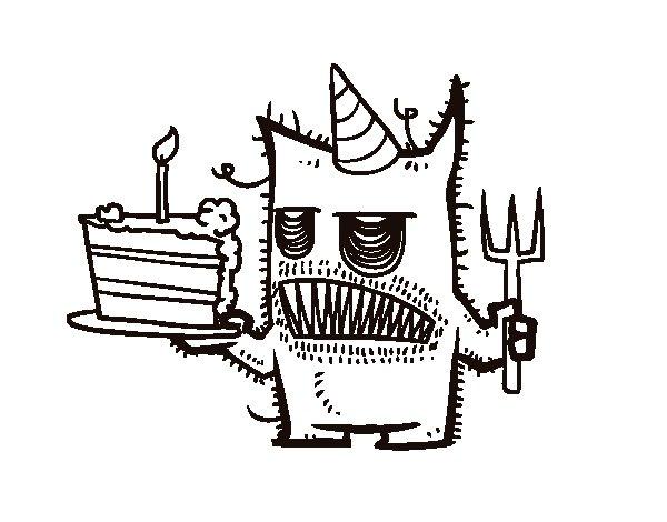 Desenho de  Bolo de aniversário do monstro para Colorir