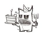 Desenho de  Bolo de aniversário do monstro para colorear