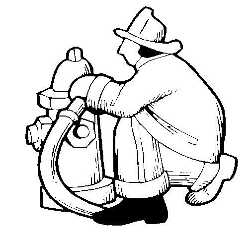 Desenho de Bombeiro na boca de incêndio para Colorir