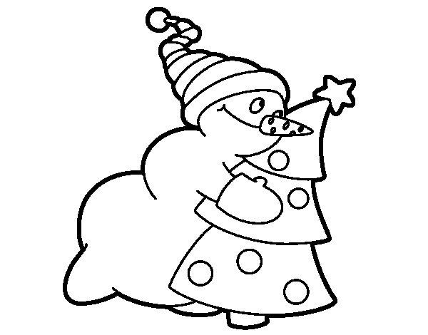 Desenho de Boneco de neve abraçando árvore para Colorir