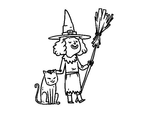 Desenho De Bruxa Com Gato De Halloween Para Colorir