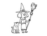 Desenho de Bruxa com gato de Halloween para colorear