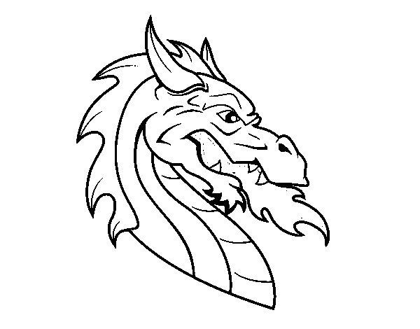 Desenho de Cabeça de dragão europeu para Colorir