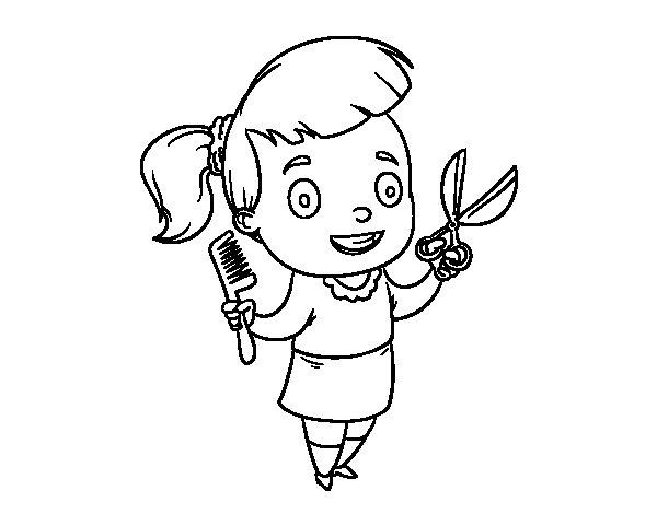 Desenho de Cabeleireira com tesoura e pente para Colorir