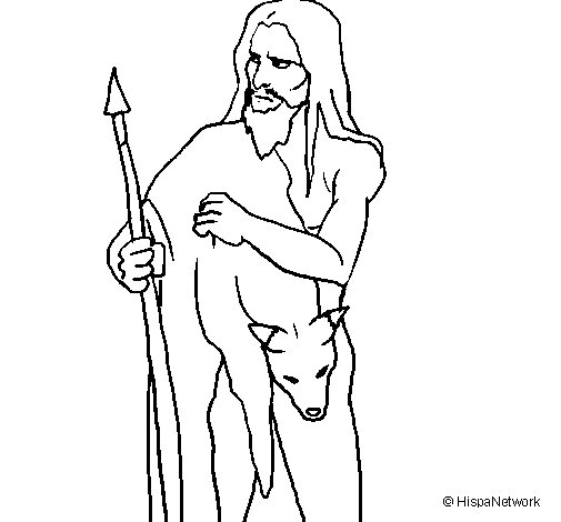 Desenho de Caçador com a sua presa para Colorir