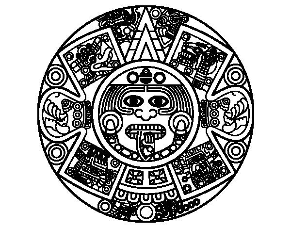 Desenho de Calendário asteca para Colorir