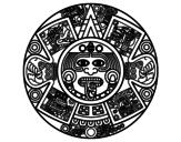 Desenho de Calendário asteca para colorear
