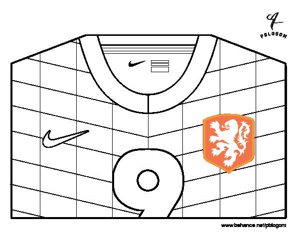 Desenho de Camisa da copa do mundo de futebol 2014 da Holanda para Colorir