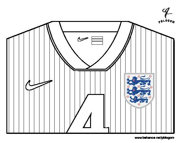 Desenho de Camisa da copa do mundo de futebol 2014 da Inglaterra para Colorir