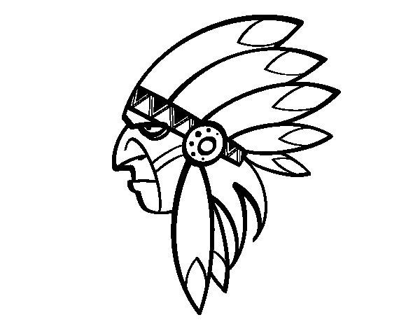 Desenho de Cara de índio chefe para Colorir