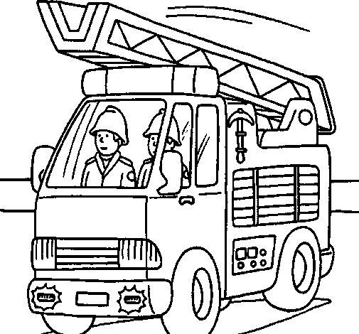 Desenho de Carro de Bombeiros para Colorir