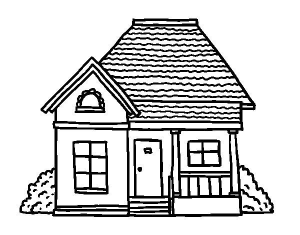 Desenho de casa de campo para colorir - Para pintar casas ...