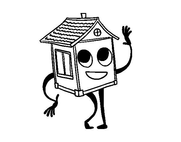 Desenho de Casa saudando para Colorir