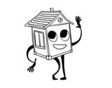 Desenho de Casa saudando para colorear