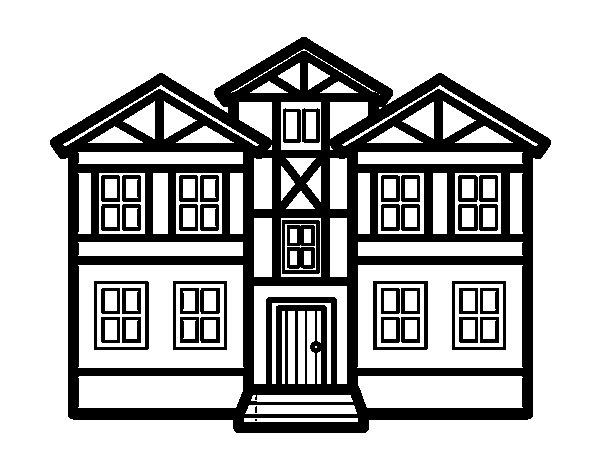 Desenho de casas para colorir - Para pintar casas ...