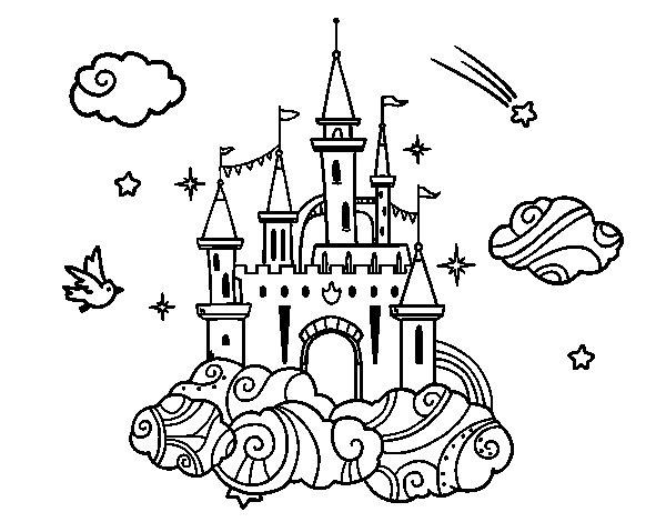 Desenho de Castelo tra la nuvole para Colorir
