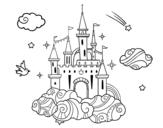 Desenho de Castelo tra la nuvole para colorear