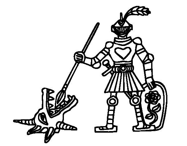 Desenho de Cavaleiro São Jorge para Colorir