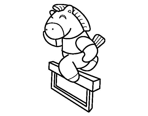 Desenho de Cavalo saltando cerca para Colorir