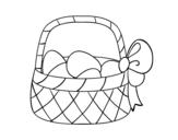 Desenho de Cesta com ovo de páscoa para colorear