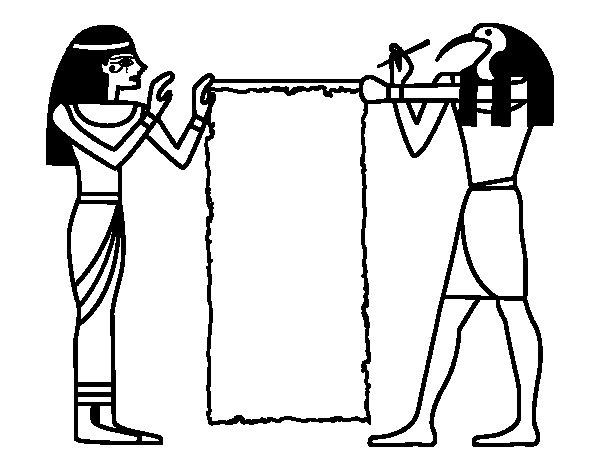 Desenho de Cleopatra e Thot para Colorir
