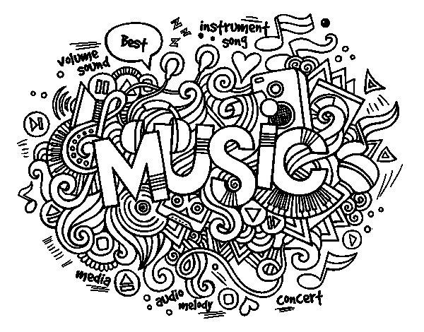 Dibujos De Letras Musicales Para Colorear: Desenho De Colagem Musical Para Colorir