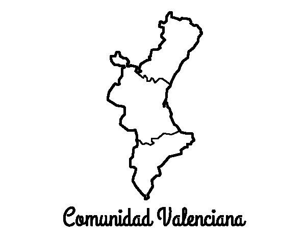 Desenho de Comunidade Valenciana para Colorir
