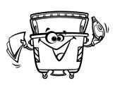 Desenho de Contentores de lixo para colorear