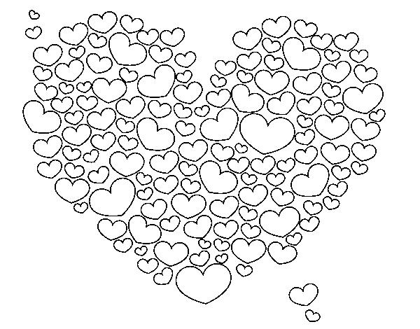 Desenho De Coracao Grande Para Imprimir: Desenho De Coração De Corações Para Colorir