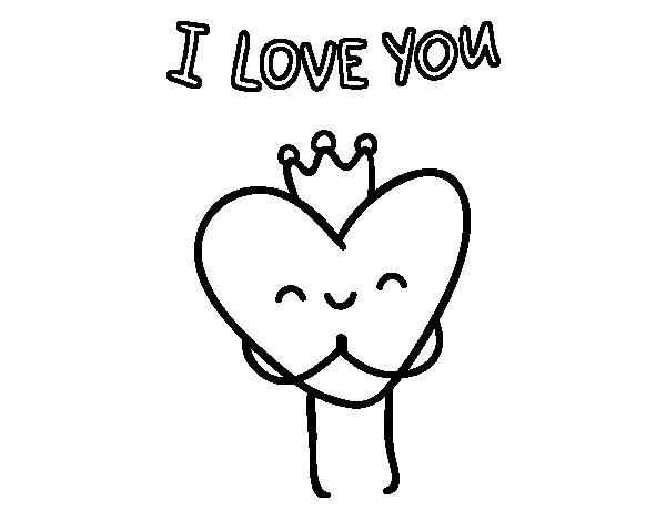 Desenho de Coração I love You para Colorir