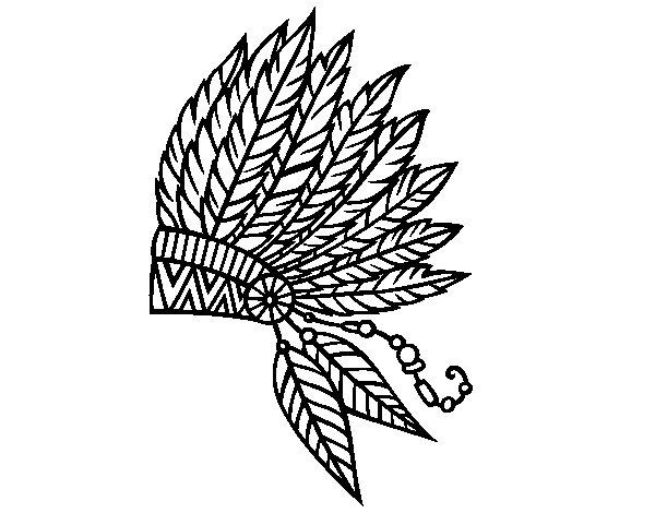 Desenho de Coroa de penas indiana para Colorir