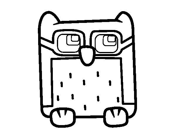 Desenho de Coruja  com óculos para Colorir