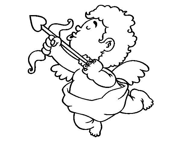 Desenho de Cupido com sua flecha para Colorir